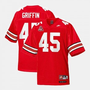 #45 Red Youth College Football Archie Griffin OSU Jersey