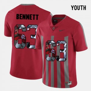 #63 Michael Bennett OSU Jersey Red For Kids Pictorial Fashion