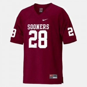 Red Adrian Peterson OU Jersey Youth College Football #28