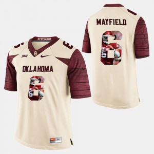 Mens Player Pictorial White Baker Mayfield OU Jersey #6