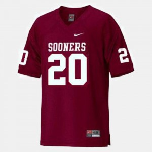 Red #20 Billy Sims Oklahoma Jersey College Football For Kids