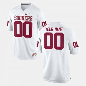 Mens College Football #00 White OU Customized Jersey