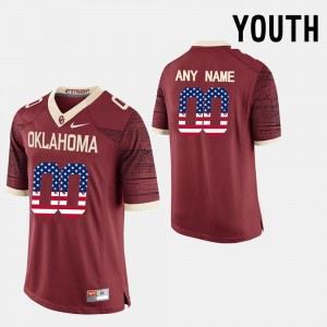 Red Youth(Kids) Sooners Customized Jersey US Flag Fashion #00
