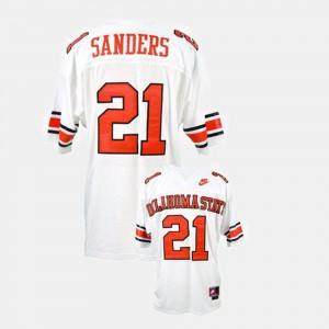 Mens Barry Sanders Oklahoma State University Jersey #21 White College Football