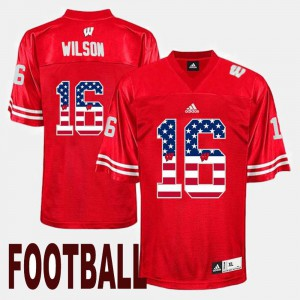 US Flag Fashion Men Red #16 Russell Wilson University of Wisconsin Jersey