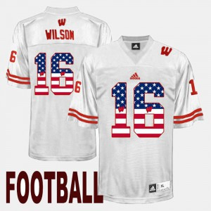 White For Men US Flag Fashion Russell Wilson UW Jersey #16