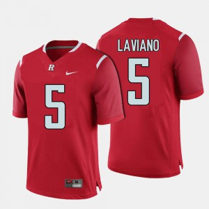 Mens Red Chris Laviano Rutgers Jersey #5 College Football