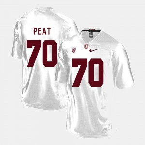 #70 College Football Men White Andrus Peat Stanford University Jersey