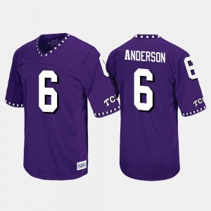 #6 Throwback For Men's Darius Anderson Horned Frogs Jersey Purple