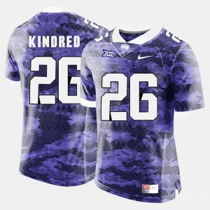 Derrick Kindred Texas Christian Jersey Purple #26 College Football For Men's