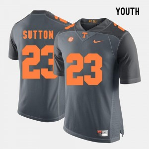 For Kids Cameron Sutton UT Jersey #23 Grey College Football