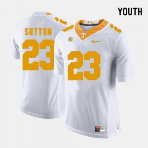 Cameron Sutton Tennessee Volunteers Jersey College Football #23 White Youth