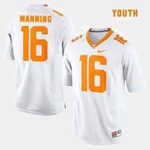 White Peyton Manning Tennessee Vols Jersey #16 College Football Kids