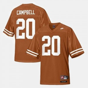 College Football Earl Campbell Texas Longhorns Jersey Youth Orange #20
