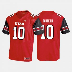 College Football #10 Sunia Tauteoli Utes Jersey Red For Men