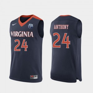 #24 2019 Basketball Champions For Men Marco Anthony University of Virginia Jersey 2019 Men's Basketball Champions Navy