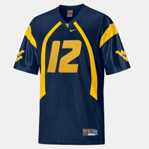 #12 Mens Blue College Football Geno Smith West Virginia Mountaineers Jersey