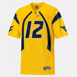 College Football Youth #12 Gold Geno Smith West Virginia Mountaineers Jersey
