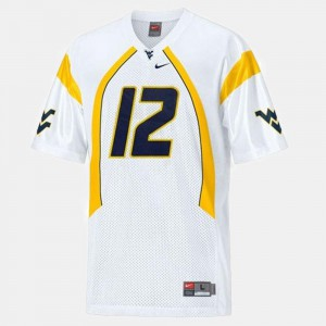 College Football #12 White Mens Geno Smith West Virginia Mountaineers Jersey
