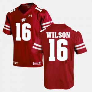 Alumni Football Game For Men's Red #16 Russell Wilson Wisconsin Jersey