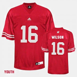 Youth Red College Football #16 Russell Wilson UW Jersey