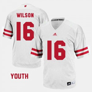 White Kids Russell Wilson Wisconsin Jersey #16 College Football