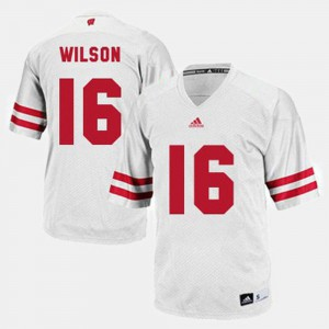 For Men's Russell Wilson University of Wisconsin Jersey White College Football #16