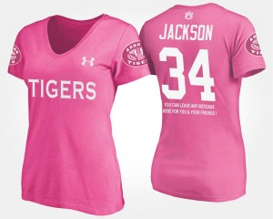 Name and Number Women With Message Pink #34 Bo Jackson Auburn University T-Shirt