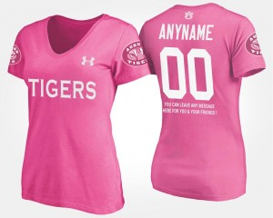 Auburn Custom T-Shirts Women's Name and Number T shirt With Message #00 Pink