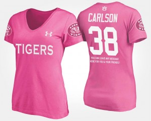 #38 Name and Number For Women Pink With Message Daniel Carlson AU T-Shirt