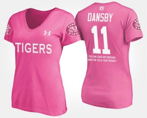 Womens With Message #11 Name and Number Karlos Dansby Auburn T-Shirt Pink
