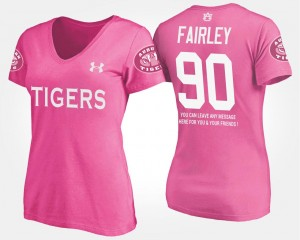 #90 Pink Nick Fairley Auburn Tigers T-Shirt Name and Number With Message Ladies