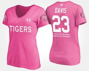 Ryan Davis Tigers T-Shirt Women With Message Name and Number Pink #23