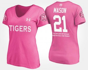 Name and Number Women Tre Mason Auburn University T-Shirt #21 Pink With Message