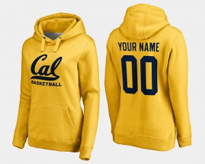 Cal Golden Bears Customized Hoodies Name and Number Basketball Gold #00 Ladies