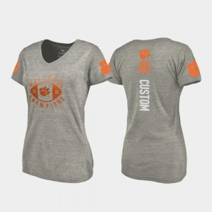 CFP Champs Customized T-Shirts College Football Playoff V Neck #00 For Women Gray 2018 National Champions