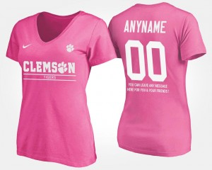 #00 Women's Pink T shirt With Message Clemson National Championship Customized T-Shirts Name and Number