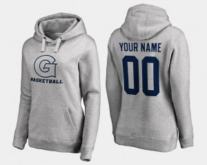 Gray Georgetown Hoyas Customized Hoodie Basketball #00 Name and Number For Women's