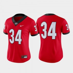 #34 Georgia Jersey Women's Game College Football Red
