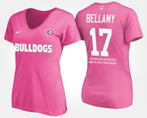 #17 Name and Number For Women Davin Bellamy UGA T-Shirt With Message Pink
