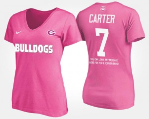 #7 Pink For Women Name and Number With Message Lorenzo Carter UGA Bulldogs T-Shirt