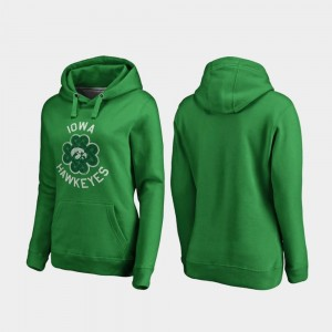 St. Patrick's Day Ladies Hawkeyes Hoodie Kelly Green Luck Tradition Fanatics Branded