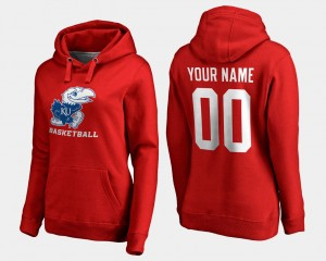 Red #00 Name and Number Kansas Customized Hoodies For Women Basketball