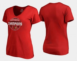 Louisville T-Shirt V Neck 2018 ACC Champions Ladies Basketball Conference Tournament Red