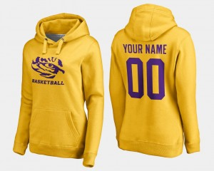 Gold Name and Number Basketball #00 LSU Tigers Custom Hoodie Womens