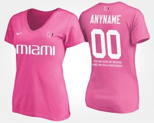 #00 Women's T shirt With Message Pink Name and Number Miami Custom T-Shirts