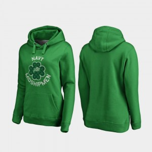 For Women's Luck Tradition Fanatics Branded Midshipmen Hoodie Kelly Green St. Patrick's Day