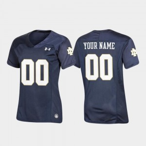 Navy #00 For Women's University of Notre Dame Custom Jersey Replica Football Under Armour