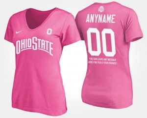 T shirt With Message #00 Name and Number For Women's Ohio State Buckeyes Customized T-Shirt Pink
