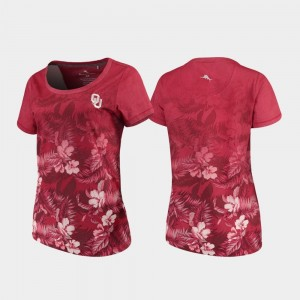 For Women Tommy Bahama Floral Victory Oklahoma Sooners T-Shirt Crimson